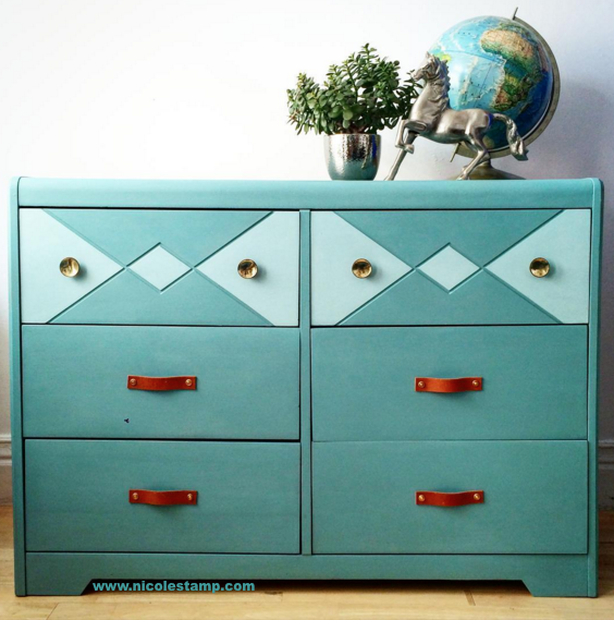 6. Stamp - Two-toned aqua dresser with leather handles